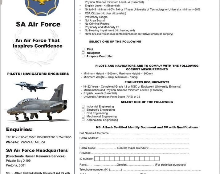 S.A Air Force Recruitment: APPLICATION FORM