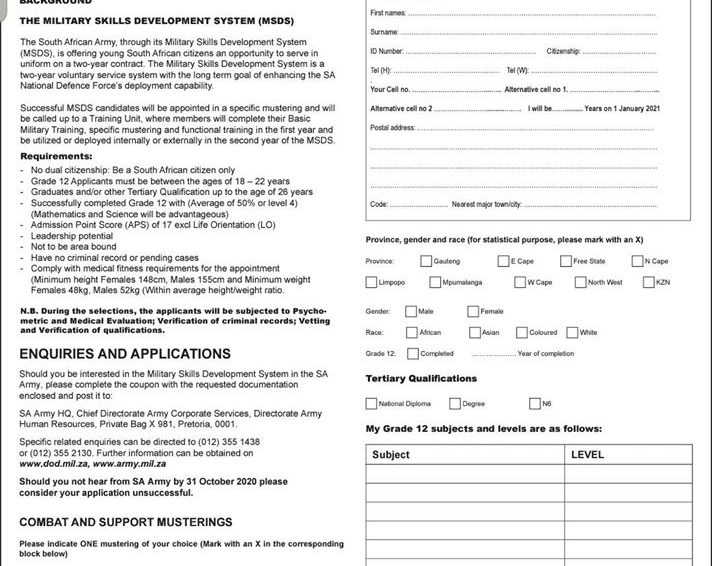 S.A Army Recruitment Application Forms