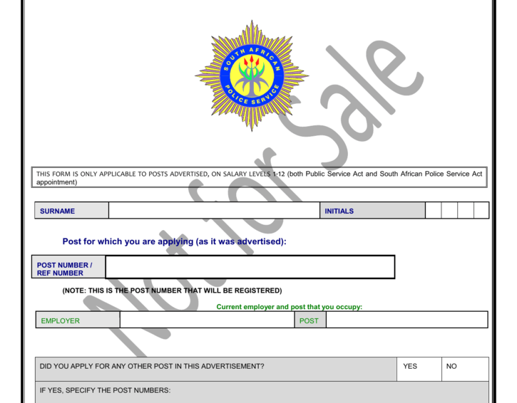 SAPS Recruitment: Job Title – GENERAL WORKERS